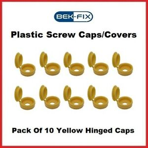 10x BEK-FIX Yellow Plastic Hinged Screw Caps Fold Over Screw Covers 6-8 Gauge
