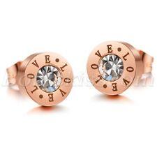 2pcs Women's Charm Stainless Steel Cubic Zirconia Inlay Love Earrings Ear Studs