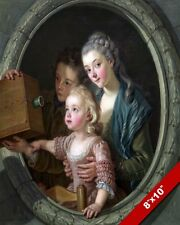 KIDS GAZING AT A CAMERA INVENTION 18TH CENTURY PAINTING ART REAL CANVAS PRINT