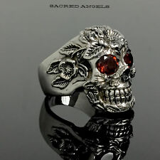 Men's Flower Skull Ring With Garnet Eyes Limited Edition