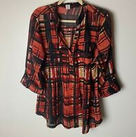 Cocomo Women's Top Size 1X Popover Blouse 3/4 Roll-Tab Sleeves Plaid Pockets