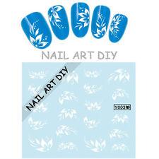 Buy 3 Get 1 FREE-Tattoo adesivi unghie-water transfer stickers-20 fiori bianchi
