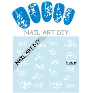 Nail Art Water Decals Transfer Stickers-Fiori Bianchi-Decorazione Adesivi Unghie