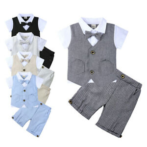 2Pcs Formal Toddler Children Boy Kid Short Suit Wedding Party Outfits size 1-4Y