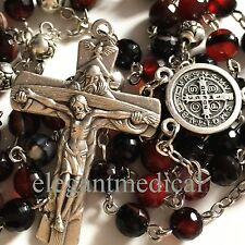 Agate & Tibet Silver Rose Bead catholic Rosary Necklace Italy Cross crucifix