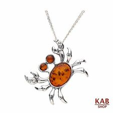 "COGNAC BALTIC AMBER STERLING SILVER 925 JEWELLERY PENDANT CRAB+18""chain. KAB-295"