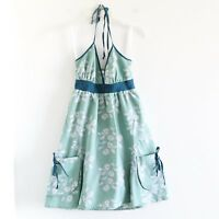 Cotton pinup peasant 50s green floral dress XS Best Sonynine Modcloth retro