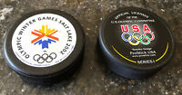 2- 2002 Olympic Winter Games Hockey Pucks Salt Lake City Utah USA