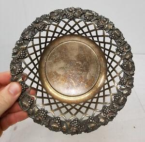 Antique Silverplate English Sheffield Plate Bowl Grape Fruit Decoration