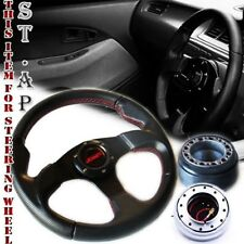Mustang Jdmsport 320Mm Steering Wheel Bk/Blk+Hub Adapter+Short Quick Release Sl