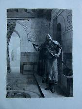 JEAN PAUL LAURENS-GRAVURE SUR CHINE-1/10-PEINTRE POMPIER-HISTOIRE-1885