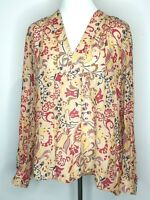Country Road Brown Floral Tunic Smock Long Sleeve Top Blouse Size Medium