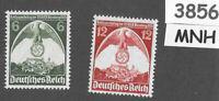#3856  Complete MNH Third Reich Germany stamp set 1935 Nuremberg rally Sc465-466