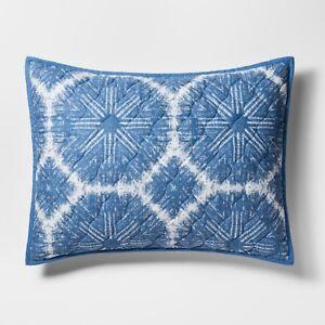Target THRESHOLD Blue/White Linework Medallion Pillow Sham Cotton, Standard
