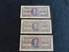 THREE GOVERNMENT OF CEYLON 10c NOTES. 1942 & 1943. LOOKING AT OFFERS