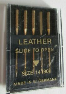 5 PACK LEATHER SEWING MACHINE NEEDLES SIZE 14 (90) W. Germany Gold