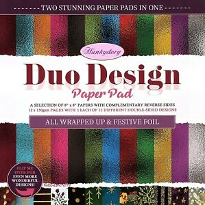 ALL WRAPPED UP Hunkydory Duo Design 8 x 8 Sample Paper Pack Double sided sheets