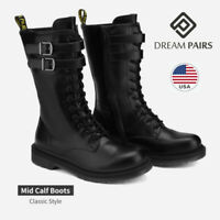 DREAM PAIRS Women Lace Up Mid Calf Zipper Flat Low Heel Military Combat Boots
