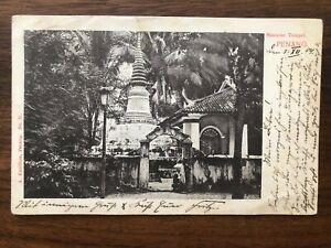MALAYSIA OLD POSTCARD SIAMESE TEMPLE PENANG TO GERMANY 1904 !!