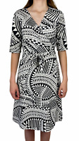 Zebart Womens Black/White Short Sleeve Business Corporate Wrap Dress Size S