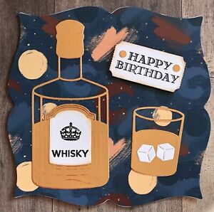 Handmade By Susie Copper Mirror Whisky Birthday Card Topper FLAT RATE UK P&P