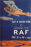 Vintage 1920's Royal Air Force RAF Recruitment Poster  A3 Print