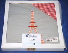 Set de 2 pièces pour lit Paris rouge gris housse de couette et taie d'oreiller