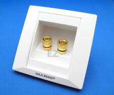 Speaker TERMINAL Wall Face Plate With 2x Gold Binding Post Banana Plug Connector