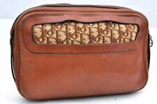 Authentic Christian Dior Clutch Bag Leather Brown 98376