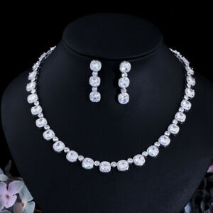 Dazzling Full Square CZ Earring Women Wedding Necklace Bridal Engagement Jewelry