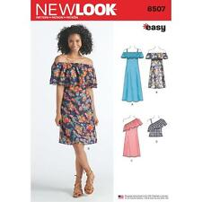 NEW LOOK SEWING PATTERN MISSES' EASY OFF THE SHOULDER DRESS & TOP XS-XL 6507