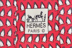 """Authentic Hermes Paris 5143 HA Red Men's Neck Tie W: 3 3/4"""" L: 64"""" """"Penguins"""""""