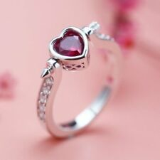 Lovely Cupid Arrow Ring~Heart Shaped Red Zircon~Sterling Silver~9~New~Gift Bag