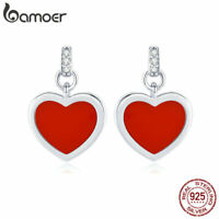 BAMOER Women Authentic 925 Sterling silver Stud Earring Enamel Heartbeat Jewelry