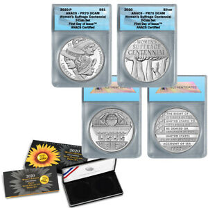 2020-P Women's Suffrage Silver Dollar & Medal 2Pc Set  PR70 FDOI