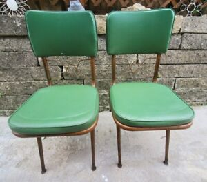 Set of VTG Vinyl & Metal Kitchen Dining Room Chairs Retro for Formica Table