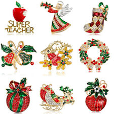 2018 Fashion Xmas Tree Bell Deer Crystal Brooch Pin Christmas Party Gift Jewelry