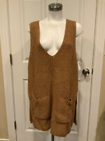 Moth Anthropologie Brown Knit Wool Blend Sweater Vest With Pockets, Size XL