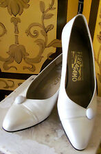 SALVATORE FERRAGAMO Vintage 1920s Style Creme Smooth Leather Dress Shoes Sz6B