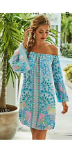 LILLY PULITZER XL NWT NEVIE DRESS OFF THE SHOULDER CARIBBEAN CITRUS IN PACKAGE