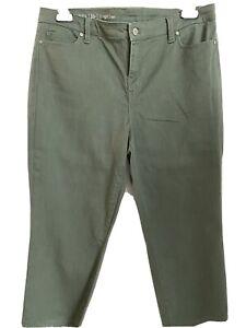 Talbots Flawless Stretch High Rise Straight Leg Crop Jeans 16 Petite Sage