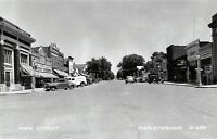 Mapleton Iowa~Main Street~Kraft Clothing Co~Rexall Drug~Cafe~1940s Cars~RPPC