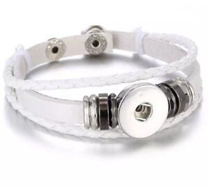 Triple Strand  Braided White Leather Snap Button Charm Bracelet ~ New