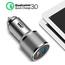 USB Car Charger 5.4A Metal Dual Car Adapter Converter with Quick Charge 3.0 Tech