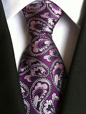 (NT126) SILK Purple Pink Paisley Necktie Wedding Office Party Formal Tie For Men
