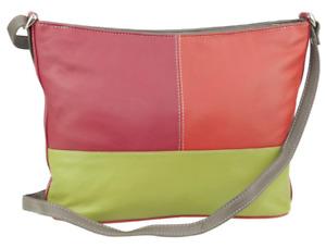 Franco Bonini - Ladies 3 Section Leather Shoulder Bag - Orange/Multi