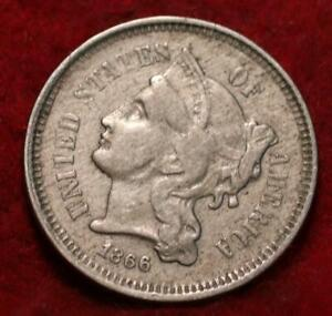 1866 Philadelphia Mint Nickel Three Cent Coin