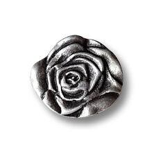 3 romantische altsilberfarbene Metall Ösen Knöpfe wie Rose (1348ro-17)