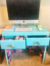 Repurposed desk - Tiffany turquoise, floral interior wallpaper $250 with chairs