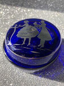 Porta bonbon scatolina in vetro blu